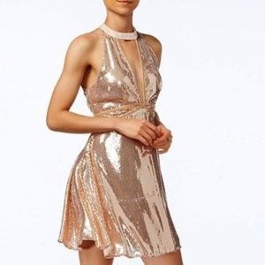 Free People Rose Gold Sequin Halter Mini Dress 0
